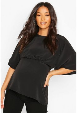 Black Maternity Angel Sleeve Woven Blouse