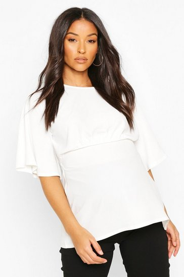Ivory Maternity Angel Sleeve Woven Blouse