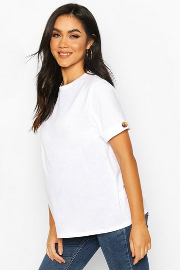 White Maternity Button Turn Up Cuff Boxy Cotton T-Shirt