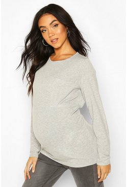 Light grey Maternity Long Sleeve Pocket T-Shirt