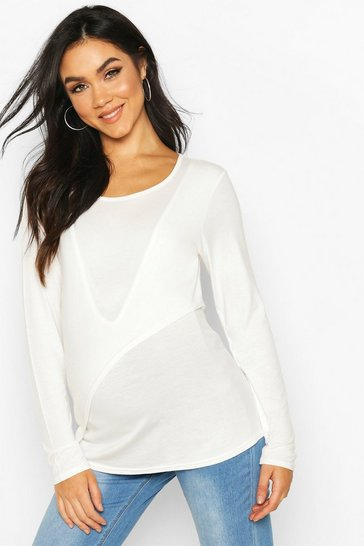 White Maternity Long Sleeve Nursing Tee