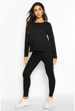 Black Maternity Button Front Nursing Lounge Set