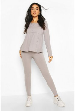 Grey marl Maternity Button Front Nursing Lounge Set