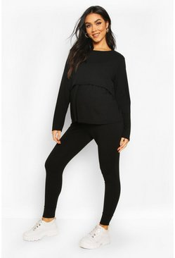 Black Maternity Nursing Lounge Set