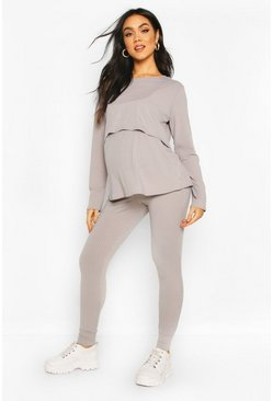 Grey marl Maternity Nursing Lounge Set