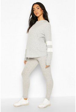 Light grey Maternity Stripe Detail Lounge Set