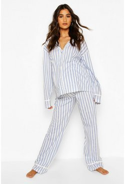 Blue Maternity Stripe Pipe Detail PJ Set