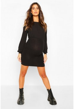 Black Maternity Drape Bodycon Dress