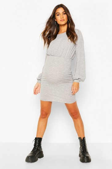 Grey marl Maternity Drape Bodycon Dress