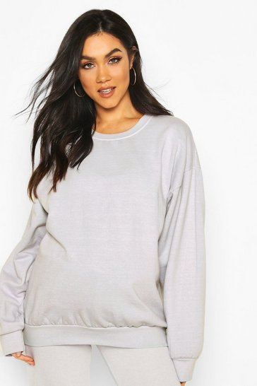 Grey Maternity Washed Crew Neck Sweat Top