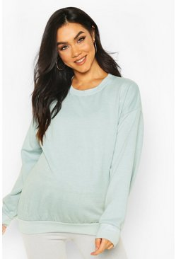 Sage Maternity Washed Crew Neck Sweat Top