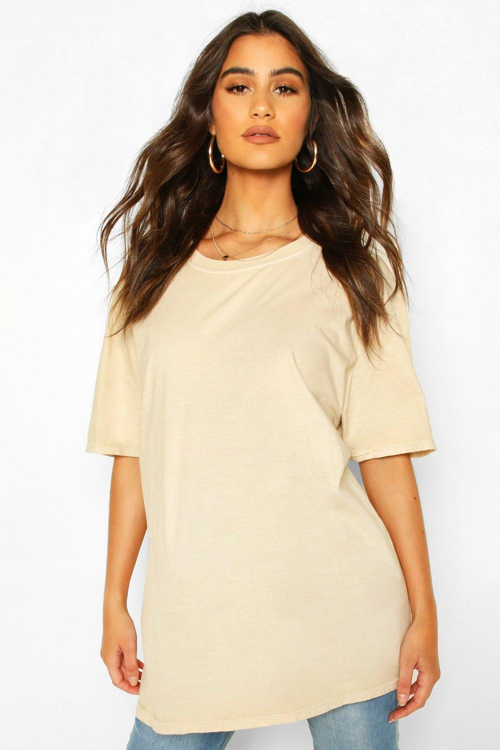 womens maternity washed t-shirt - beige - s