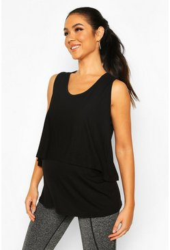 Black Maternity Double Layer Gym Top