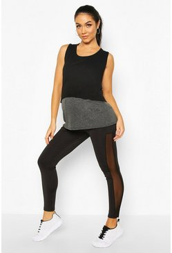 Black Maternity Mesh Insert Overt The Bump Legging