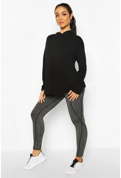 Black Maternity Activewear Hooded Top