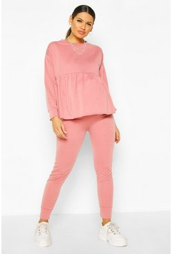 Ensemble sweat de maternité confort à smocks, Vieux rose