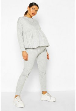 Light grey Maternity Smock Sweat Lounge Set