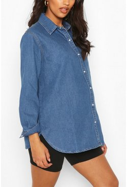 Mid blue Maternity Oversized Denim Shirt