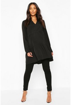 Black Maternity Woven Tiered Smock Tunic