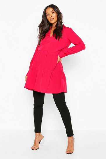 Cranberry Maternity Woven Tiered Smock Tunic