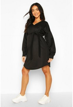Black Maternity Tie Waist Sweat Dress
