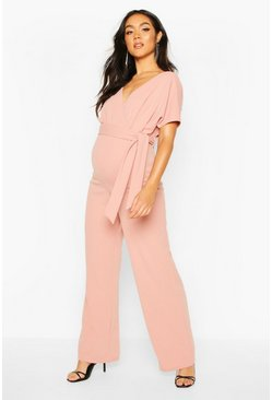 Nude Maternity Off The Shoulder Wrap Jumpsuit