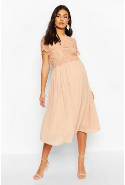 Apricot Maternity Double Layer Crochet Occasion Dress