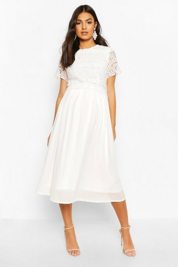 Ivory Maternity Double Layer Crochet Occasion Dress