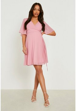 Blush Maternity Pleated Wrap Midi Skater Dress