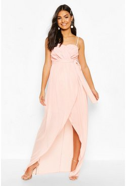 Nude Maternity Tie Waist Wrap Dress