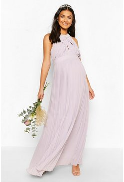 Light grey Maternity Wrap Detail Maxi Occasion Dress