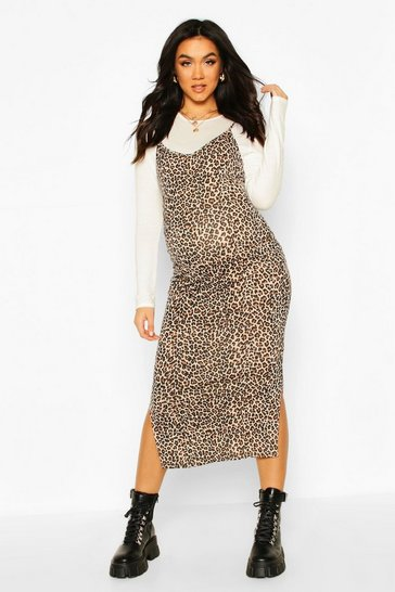 White Maternity Leopard Print Midi 2 In 1 Slip Dress