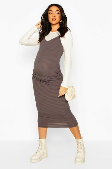 Charcoal Maternity 2 In 1 Top And Midi Slip Dress