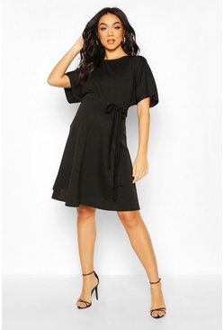 Black Maternity Batwing Tie Waist Skater Dress