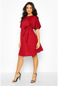 Wine Maternity Batwing Tie Waist Skater Dress