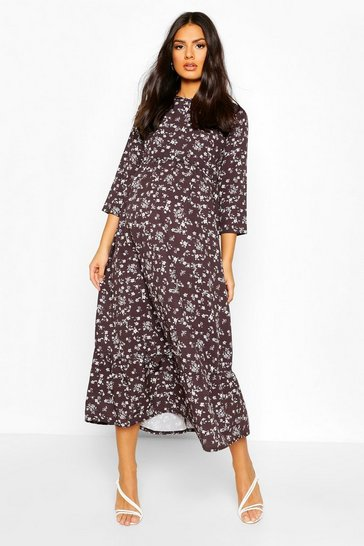 Black Maternity Floral Print Midi Smock Dress