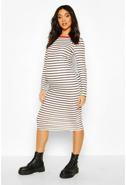 Red Maternity Ringer Stripe Bodycon Dress