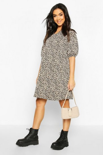 Womens Tan Maternity Leopard Print Smock Dress