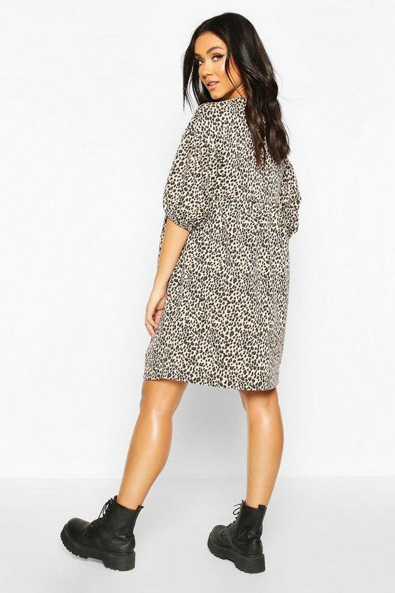 Maternity Leopard Print Smock Dress