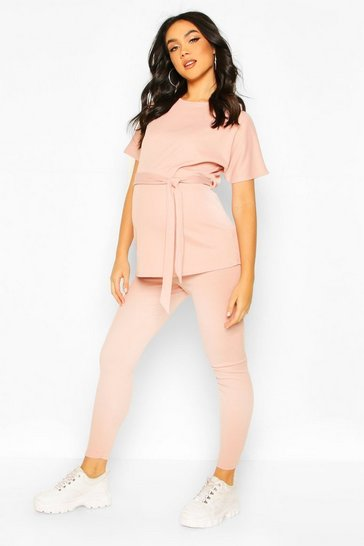 Blush Maternity Batwing Tie Waist Legging Lounge Set