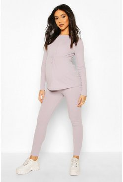 Grey marl Maternity Twist Front Rib Lounge Set