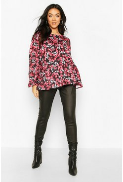 Black Maternity Floral Print Smock Top