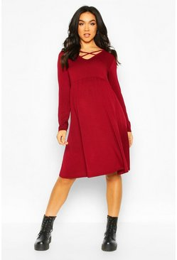 Womens Berry Maternity Cross Front Smock Dress