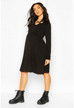 Black Maternity Cross Front Smock Dress