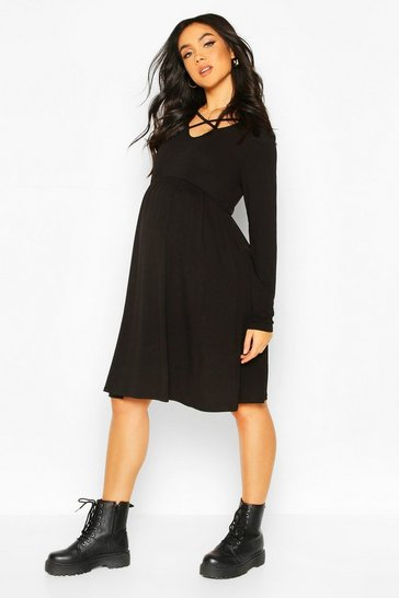 Womens Black Maternity Cross Front Smock Dress