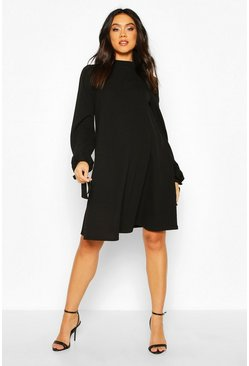 Black Maternity Tie Sleeve Smock Dress