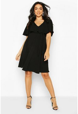 Black Maternity Flutter Sleeve Skater Dress