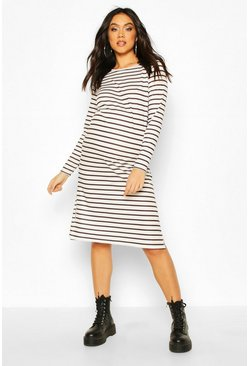 Black Maternity Stripe Side Split Shift Dress