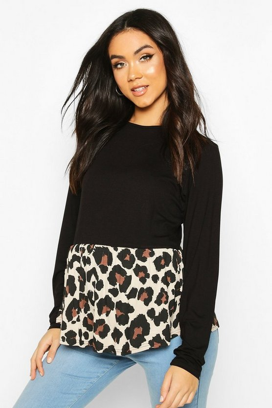 Womens Black Maternity Contrast Leopard Long Sleeve Smock Top