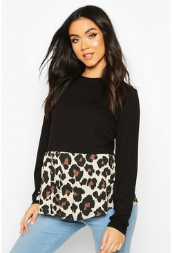 Black Maternity Contrast Leopard Long Sleeve Smock Top
